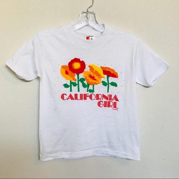 Vintage CALIFORNIA GIRL Poppy Flower Tee M (10-12)